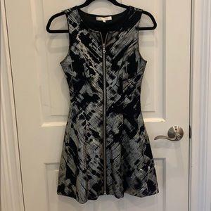 Metallic silvery zipper down dress